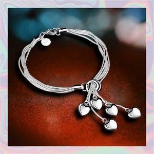 Jewelry - ❗️NEW❗️.925 Sterling Silver Hearts Bracelet